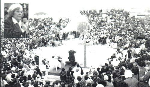 Santa Misa por Pd. Manuel Rodríguez y discurso de la Sra. María Esperanza con 3.000 personas, Estadio San Miguel Arcángel de Maranga, Lima, Perú (15-07-1995)