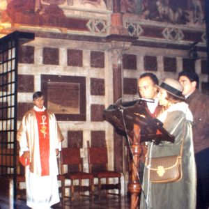 Mrs. Bianchini, Mr. Carlos Marrero, and Mr. Juan Carlos, Chapel of Saint Catherine in the Basilica of Saint Francis of Assisi, Assisi, Italy (11-15-1994)