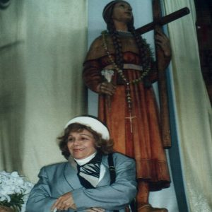 Mrs. Bianchini in front of the statue of Blessed Kateri Tekakwitha, Shrine of the North American Martyrs, Auriesville, NY, USA (05-05-1995)