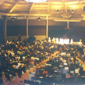 Holy Mass by Fr. Cadmus Mazzarella and eight priests, and Mrs. Bianchini's speech to 1.500 people, Garden State Park Pavilion, Cherry Hill, NJ, USA (11-30-1996)