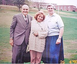 Mrs. Bianchini's first apostolic mission abroad. The Bianchinis and Sister Margaret Sims, MA, USA (04-26-1993)
