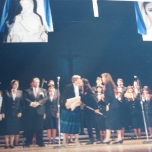 Mrs. Bianchini in a conference and participation of the Betania Choir, Lowell's Memorial Auditorium, MA, USA (09-18-1993)